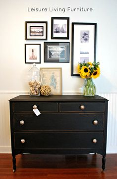 leisure living: Classic Beauty. Love old painted black furniture