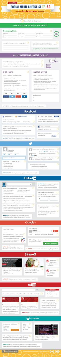 "SOCIAL MEDIA -         ""Sensible Social Media Checklist for Business v.3.0 [INFOGRAPHIC]"". Click-thru for a better view...."