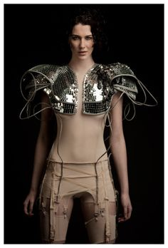 Rachel Freire, silver sequined armor shoulderpads. Dayum.