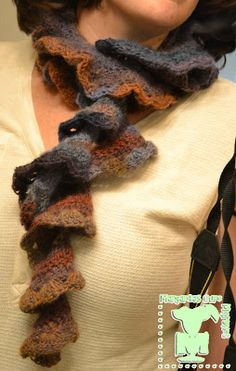 Crochet Ruffle or Potato Chip scarf with lace edge.