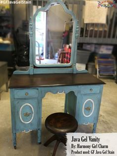 The top of this vanity was stained with General Finishes Java Gel Stain by Harmony Girl Charm, https://www.facebook.com/pages/Harmony-Girl-Charm/699910813382360?fref=ts.  The Java Gel provides such a rich deep color.  Looks fantastic! #generalfinishes #javagel #getthelook