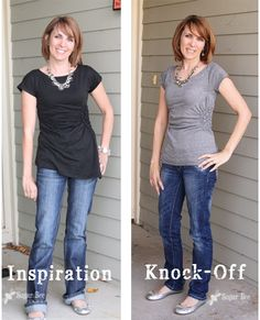 LOVE!!!  TUTORIAL Alter a mens shirt into a womens top.  Repurpose Tshirt- gathered and fitted.