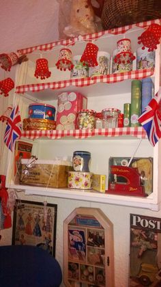My gingham shelf with lots of lovely old tins