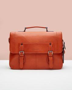 Colour block leather satchel - Orange | Messenger Bag | Netherlands Site