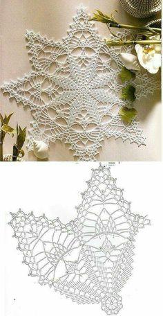 Lovely Crochet Heart Doilies Free Patterns Great for . Free Crochet Doily Patterns, Crochet Snowflake Pattern, Crochet Stars, Crochet Motifs, Crochet Snowflakes, Thread Crochet, Crochet Designs, Crochet Stitches, Knitting Patterns