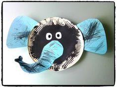 elephant cardboard plate, diy kid, zoo animals by Paper Plate Crafts, Paper Plates, Jungle Animals, Animals For Kids, Simple Art, Craft Activities, Animal Activities, Diy For Kids, Elephant
