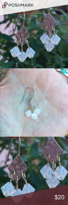 Handmade Sterling Silver Drop Earrings Sterling silver petite chandeliers with opalescent white beads.  Made by little ole me! Jewelry Earrings