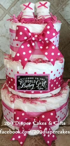 Hot Pink and White Polka Dot Welcome to the World Baby Girl Diaper Cake by 209 Diaper Cakes & Gifts - facebook.com/209diapercakes
