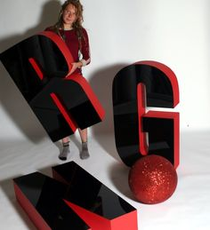1200mm high polystyrene letters - faced with black acrylic