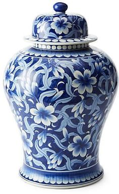 Jasmine Ginger Jar, Blue/White, Impressively styled to resemble a well-preserved antique, this substantial porcelain ginger jar features an intricately detailed, hand-painted jasmine motif in traditional blue and white. Blue And White China, Blue China, White Decor, White Art, Leontine Linens, Bleu Indigo, Keramik Vase, Ginger Jars, Traditional Decor