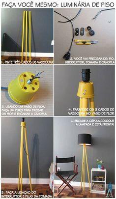 como fazer uma luminária de piso - tripé