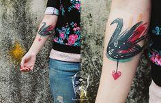Bumpkin Tattoo Studio, A Great Place To Get A Colorful, Watercolor-Like Tattoo Modern Tattoos, New Tattoos, Black Swan Tattoo, Emo Girls, Inked Girls, Tattoo Studio, Tattoo Inspiration, Lovers Art, Tattoo Artists