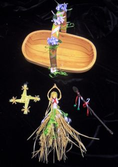 Imbolc Pagan Brighid Corn Dolly, Brigid's Cross, Bride's Bed & Priapic Wand. Hand crafted Set.