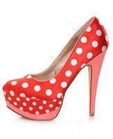Red - White Fabric Polka Dot Platform Pumps