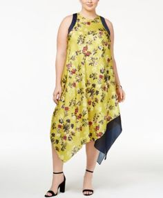 RACHEL Rachel Roy Trendy Plus Size Handkerchief-Hem Dress | macys.com