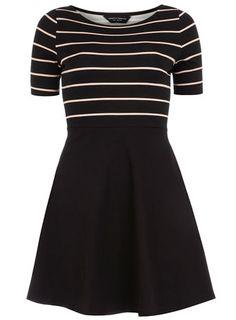Black and nude stripe flare dress