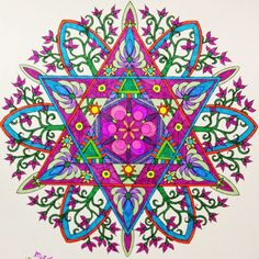 Cynthia Emerlye, Vermont artist and life coach: A Colored Mandala Mandala Art, Mandala Design, Gel Pen Art, Gel Pens, Hamsa, Coloring Books, Coloring Pages, Colouring Techniques, Fractal Art