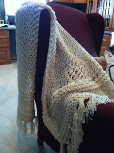Free Pattern: 3-Strand Quick Knit Lacy Prayer Shawl by Louis Chicquette