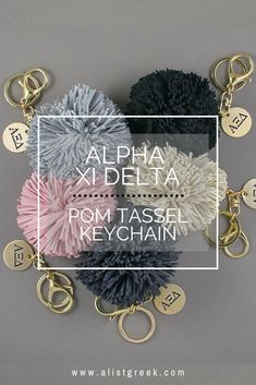 Add a stylish touch of Phi Mu to your keys, purse or backpack with this suede pom tassel keychain. With your choice of Phi Mu Greek letters or your state with sorority letters, this engraved keychain will be your new favorite accessory! Alpha Epsilon Phi, Phi Sigma Sigma, Alpha Sigma Alpha, Alpha Chi Omega, Delta Gamma, Phi Mu, Sorority Big Little, Big Little Gifts, Tassel Keychain
