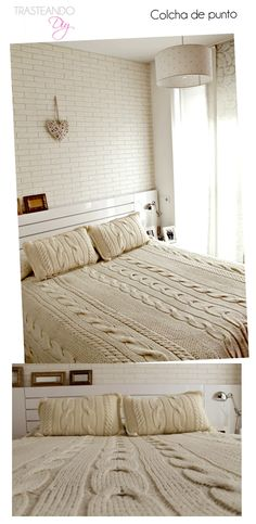 Discover thousands of images about Chunky Cable Knit Blanket in Cream Irish Cabled Wool Hand Knitted Blanket Cable Knit Blankets, Knitted Blankets, Knitted Throw Patterns, Cozy Bed, Bed Covers, Bed Spreads, Bed Sheets, Pillows, Bedroom