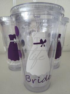 Set of 5 Custom Vinyl Bridesmaids Bridal by CraftABeautifulLife