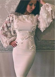 2019 Sheath Prom Dresses with Jewel Neckline Long Illusion Puffy Sleeves Knee Length Appliques Pearls Handmade Flowers Cocktail Gowns, Diy Abschnitt, Cheap Evening Gowns, Hijab Evening Dress, Hijab Dress Party, White Evening Gowns, Formal Evening Dresses, Elegant Dresses, Formal Gowns, Formal Wear, 1920s Cocktail Dresses