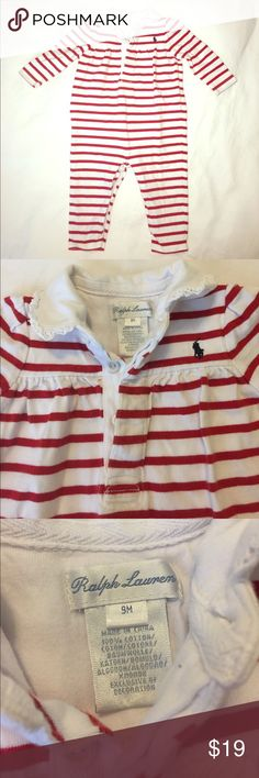 👭[Ralph Lauren] red stripe playsuit Red and white stripe. Collar with lace trim. Snaps in stride. Buttons in front. Classic and timeless. Excellent condition. Holiday, stripes, Christmas. Ralph Lauren One Pieces