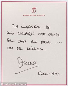 """A letter from Diana dated June 1997 reads """"The inspiration for this wonderful sale comes from just one person-- our son William."""""""