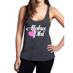 Alpha Phi Tri Blend Racerback Tank - Heart