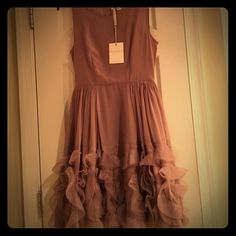 NWT Runway Limited Edition Chiffon Dress NWT Runway Limited Edition Chiffon Sleeveless Taupe Dress.  Fully lined.  Size 4. Absolutely Gorgeous!! Dana Buchman Dresses