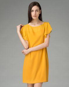 #AdoreWe #VIPme Shift Dresses - SAINTY Yellow Chiffon Loose Shift Midi Dress - AdoreWe.com