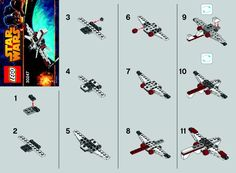 LEGO 30247 Starfighter instructions displayed page by page to help you build this amazing LEGO Star Wars set Lego Mecha, Lego Bionicle, Lego Toys, Lego Duplo, Lego Arc 170, Legos, Easy Lego Creations, Lego Star Wars Mini, Construction Lego