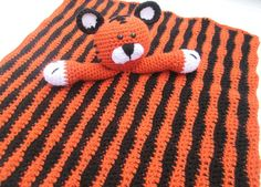 Crochet Orange and Black Tiger Lovey Security by SugarandSpiceKate