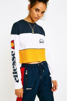 Shop Ellesse Amalfi Long-Sleeve Crop T-Shirt at Urban Outfitters today. Ellesse, Amalfi, Urban Outfitters, T Shirt Court, Power Girl, Sporty Style, Mannequin, Adidas Jacket, Fitness Models