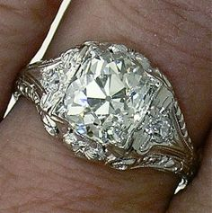 Platinum Edwardian 2.51ct L S12 Old Mine/Cushion Cut in Superb Platinum Mounting