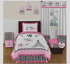 Twin 4-piece Charming Soft Pink Black/white Stripes Jojo Paris Comforter Bed Set