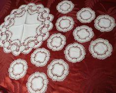 Handmade linen lace wine set 13pc c1920s