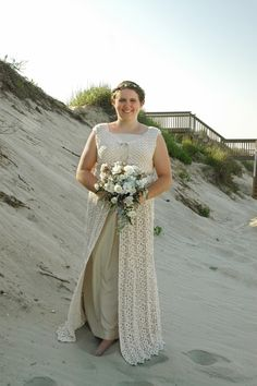 My hand-crocheted, self-designed wedding dress!  Was just talking with Brenda C-H about this concept. Granny squares sewn together.