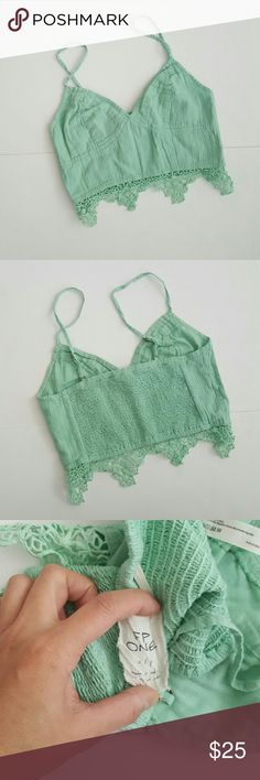 Fp One Geo Lace Bralette Crop Top Pretty seafoam green top. Stretchy smocked back, adjustable spaghetti straps, and unlined.  In excellent pre-loved condition. Free People Tops Crop Tops