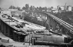 Construction on what would later become the 134 Fwy in 1953 (near the Colorado Street Bridge).  According to the Los Angeles Public Library, the new construction had a couple of names.  One was the Colorado Freeway Bridge and the other was the  Pasadena Pioneers Bridge.  Naturally, further construction was needed when the bridge became a part of the 134 in the early 1970s.  (LAPL 00076477 ) Bizarre Los Angeles