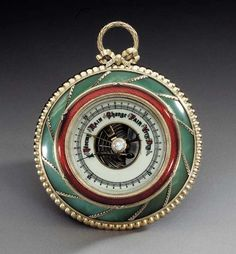 A jewelled rare silver-gilt guilloché enamel bowenite barometer  marked Fabergé, workmaster Michael Perchin, St. Petersburg, circa 1890 Circular, the spreading bowenite base applied with spiraling laurel sprays, within beaded lower mount and ribbon-tied reeded upper mount, the dial with translucent red guilloché enamel bezel and gold-mounted moonstone finial, with ribbon-bow cresting and laurel wreath suspension ring, marked on rim and reverse.
