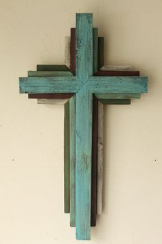 Reclaimed Wood from Oklahoma - Multi Color Cross - Bluish Turquoise primary color Wooden Crosses, Crosses Decor, White Crosses, Wall Crosses Diy, Cool Woodworking Projects, Fine Woodworking, Wood Projects, Rustic Cross, Old Rugged Cross