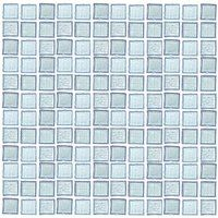 """HotGlass - Ashland - 1"""" Glass Tile in Clear Ice Iridescent 12 7/8"""" x 12 7/8"""" Paper Faced Sheet"""
