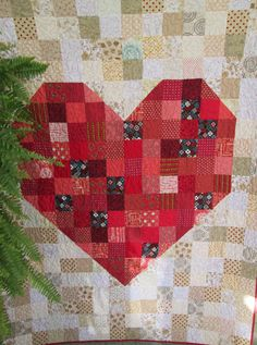 Custom Wedding Quilt, Anniversary Quilt, Modern Heart Quilt, Gift Idea for Couples, DEPOSIT for made to Order