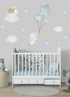Elephant wall decor nursery wall sticker balloon sticker star wall sticker baby room wall decal It i Nursery Wall Decals Boy, Baby Room Wall Stickers, Elephant Nursery Wall Decor, Nursery Room, Baby Room Boy, Baby Rooms, Ballon, Decoration, Balloon Wall