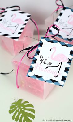 Free Printable Flamingo Favor Tags | Kim Byers