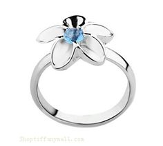 Tiffany Outlet diamonds-blue Flower ring