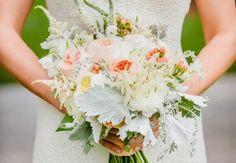 "Bride's Bouquet Featuring: Peach ""Juliet"" David Austin English Garden Roses, White English Garden Roses, White Veronica, White Astilbe, Peach Hypericum Berries, Dusty Miller & Greenery"