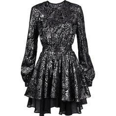 Just Cavalli Lace Layered Long Sleeve Metallic Dress ($195) ❤ liked on Polyvore featuring dresses, gowns, lace evening gowns, lace ball gown, lace gown, long-sleeve lace dresses and long sleeve gowns