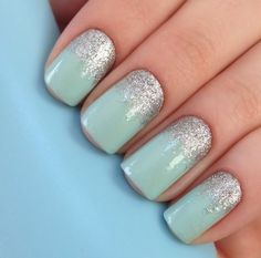 I love mint & silver. I always do this with Revlon's Minted and loose silver glitter or Essie's Set in Stones.